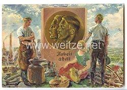 """III. Reich - farbige Propaganda-Postkarte - """" Hindenburg / Hitler - Arbeit adelt - 1. Mai - Feiertag der Nationalen Arbeit 1933 """""""