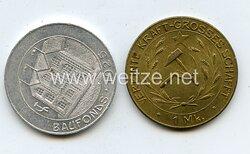 2 Spendenmarken 1 Mark / 50 Pfennig für den Baufonds 1925 zum Aufbau eines Hauses der kommunistischen Kämpfer