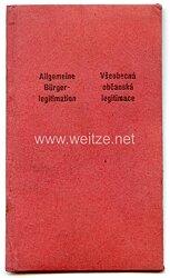 III. Reich - Protektorat Böhmen und Mähren - Allgemeine Bürgerlegitimation für eine Frau des Jahrgangs 1878