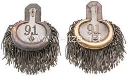 Oldenburg Paar Epauletter für einen Oberstleutnant im Infanterie-Regiment Nr. 91