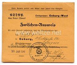 NSDAP Ortsgruppe Coburg-West - Zwischen-Ausweis