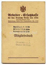III. Reich - Arbeiter-Ersatzkasse für das Deutsche Reich von 1884 - Mitgliedsbuch