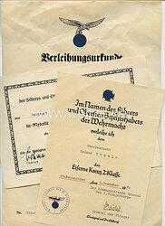 Luftwaffe - Urkundentrio für einen Leutnant und späteren Oberleutnant
