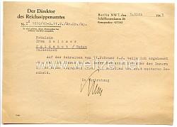 III. Reich - Der Direktor des Reichssippenamtes - Schreiben