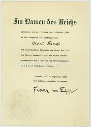 III. Reich - Originalunterschrift von Reichsstatthalter Franz Ritter v. Epp auf einer Beförderungsurkunde
