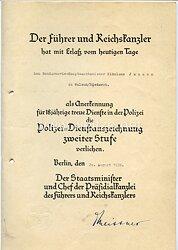 Polizei-Dienstauszeichnung 2. Stufe für 18 Jahre - Verleihungsurkunde