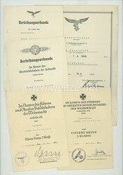 Luftwaffe - Urkundengruppe für einen Unteroffizier und späteren Feldwebel im Kampfgeschwader 2