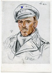 Kriegsmarine - Willrich farbige Propaganda-Postkarte - Ritterkreuzträger Kapitänleutnant Schultze