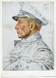 Kriegsmarine - Willrich farbige Propaganda-Postkarte - Ritterkreuzträger Kapitänleutnant Schuhart
