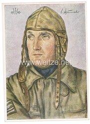 Luftwaffe - Willrich farbige Propaganda-Postkarte - Ritterkreuzträger Oberstleutnant Schumacher