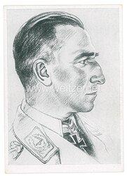 Luftwaffe - Willrich farbige Propaganda-Postkarte - Ritterkreuzträger Major Harlinghausen