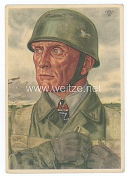Luftwaffe - Willrich farbige Propaganda-Postkarte - Ritterkreuzträger Oberst Bräuer