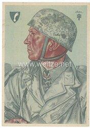 Luftwaffe - Willrich farbige Propaganda-Postkarte - Ritterkreuzträger Hauptmann Delica