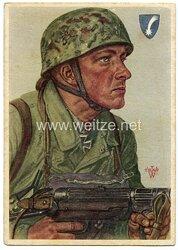 Luftwaffe - Willrich farbige Propaganda-Postkarte - Ritterkreuzträger Feldwebel Arpke