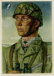 Luftwaffe - Willrich farbige Propaganda-Postkarte - Ritterkreuzträger Major Koch