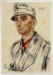 Heer - Willrich farbige Propaganda-Postkarte - Ritterkreuzträger Generaloberst Dietl
