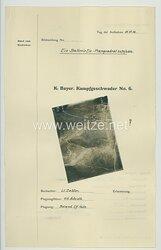 Fliegerei 1. Weltkrieg - Königl.Bayer. Kampfgeschwader No. 6 - Bildmeldung No. vom 11.11.1916