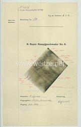Fliegerei 1. Weltkrieg - Königl.Bayer. Kampfgeschwader No. 6 - Bildmeldung No. 84 vom 16.11.1916