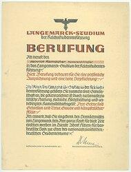 III. Reich - Langemarck-Studium der Reichsstudentenführung - Berufungsurkunde