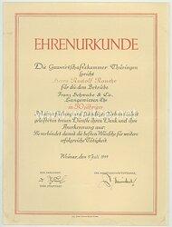 III. Reich - Gauwirtschaftskammer Thüringen - Ehrenurkunde