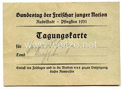Bundestag der Freischar junger Nation - Pfingsten 1931 Rudolstadt - Tagungskarte
