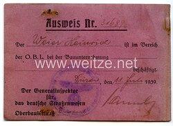 III. Reich - Der Generalinspektor für das deutsche Straßenwesen - Ausweis
