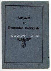 III. Reich - Ausweis der Deutschen Volkslistefür eine Frau des Jahrgangs 1897 aus Charlottenhof Kreis Beuthen