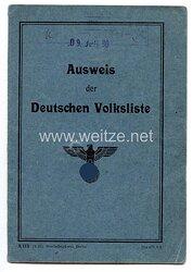 III. Reich - Ausweis der Deutschen Volkslistefür einen Mann des Jahrgangs 1898 aus Königshütte/Oberschlesien