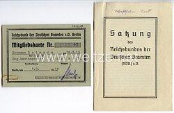 Reichsbund der Deutschen Beamten e.V. Berlin - Mitgliedskarte und Satzung