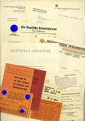 III. Reich - Dokumentengruppe für einen Angestellten in der Württembergische Metallwarenfabrik ( WMF )