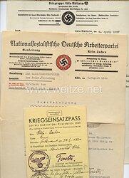 NSDAP Gauleitung Köln-Aachen - Kriegseinsatzpass für die studentische Erntehilfe 1940