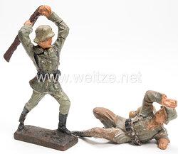 """Lineol - Heer Soldat mit Gewehr zuschlagend """" Kolbenschläger """" und Soldat abwehrend"""