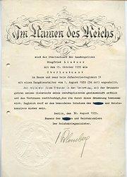 III. Reich - Originalunterschrift von Reichskriegsminister Werner von Blomberg auf einer Ernennungsrkunde