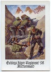 """Wehrmacht - farbige Propaganda-Postkarte - """" Gebirgs-Jäger-Regiment 98 Mittenwald """""""