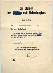 III. Reich - Schmuckurkunde zur Versetzung in den Ruhestand