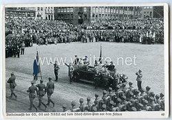 """III. Reich - Propaganda-Postkarte - """" Reichsparteitag Nürnberg - Vorbeimarsch der SA, SS und NSKK auf dem Adolf-Hitler-Platz vor dem Führer """""""