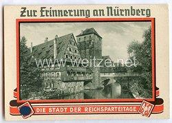 """III. Reich - farbige Propaganda-Postkarte - """"Zur Erinnerung an Nürnberg - die Stadt der Reichsparteitage - Henkersteg """""""