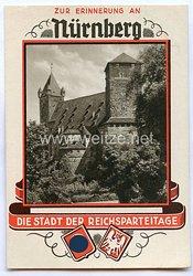"""III. Reich - farbige Propaganda-Postkarte - """" Zur Erinnerung an Nürnberg - die Stadt der Reichsparteitage - Burggraben mit Kaiserstellung """""""