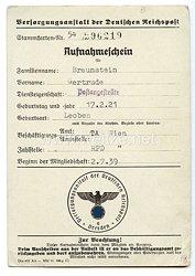 III. Reich - Versorgungsanstalt der Deutschen Reichspost Dresden - Aufnahmeschein