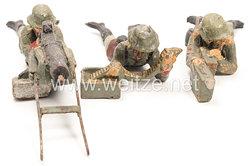 Elastolin - Heer MG Schütze liegend am SMG mit Schütze Munition zuführend und Schütze mit Munitionsbehältern
