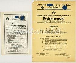 III. Reich - 2 Programme 1935 und 1936 zum Batterieappell und Regimentsappell des Westf.-Fußart.-Regt.Nr.7