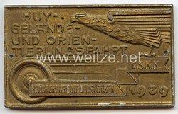 """NSKK - nichttragbare Teilnehmerplakette - """" Motorgruppe Niedersachsen - HUY-Gelände- und Orientierungsfahrt 1939 """""""
