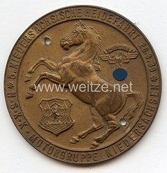 """NSKK - nichttragbare Teilnehmerplakette """" Motorgruppe Niedersachsen - 5. Niedersächsische Heidefahrt 26.3.1939 """""""