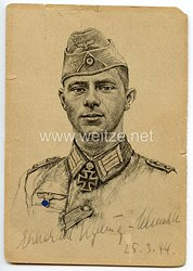 Heer - Originalunterschrift von Ritterkreuzträger Oberleutnant Ekkehard Kylling-Schmidt