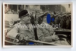"""III. Reich - Propaganda-Postkarte - """" Der Führer und der Duce - Die Garanten des Friedens - Mussolini / Hitler """""""
