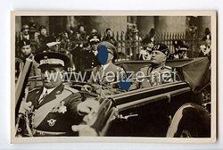 """III. Reich - Propaganda-Postkarte - """" Mussolini / Hitler - Auf der Fahrt durch Rom """""""