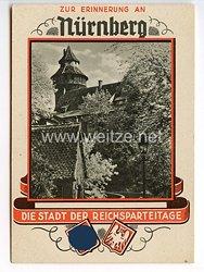 """III. Reich - farbige Propaganda-Postkarte - """"Zur Erinnerung an Nürnberg - die Stadt der Reichsparteitage - Märchenhafter Burgaufgang """""""