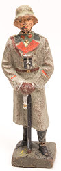 Lineol - Heer Generalstabsoffizier mit Mantel und Stahlhelm, Fernglas umgehängt und sich auf Säbel stützend.