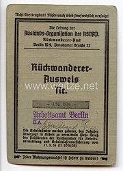 Auslands-Organisation der NSDAP - Rückwandereramt - Rückwandererausweis für einen Mann des Jahrgangs 1887 aus Wien