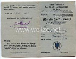 III. Reich - Reichsverband des Kraftfahrgewerbes - Mitgliedsausweis